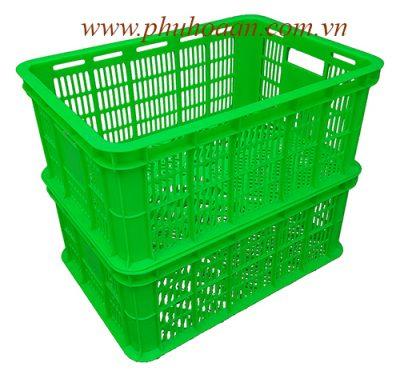 Sóng nhựa ( rổ nhựa) HS018 xanh lá xếp chồng lên nhau cao cấp Phú Hòa An