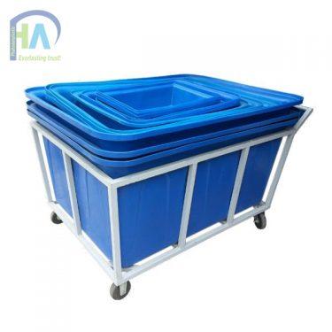 Xe đẩy thùng nhựa chữ nhật dung tích lớn chất lượng vượt trội