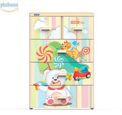 Tủ nhựa MINA size L họa tiết gấu thú DT phân phối giá tốt