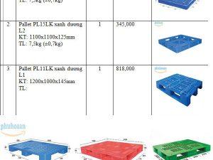Bảng báo giá pallet nhựa mới tại nhà sản xuất Phú Hòa An